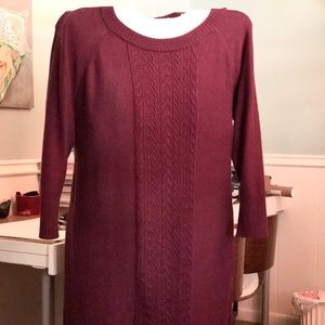 Spense Woman Burgundy Cable Knit Sweater Dress